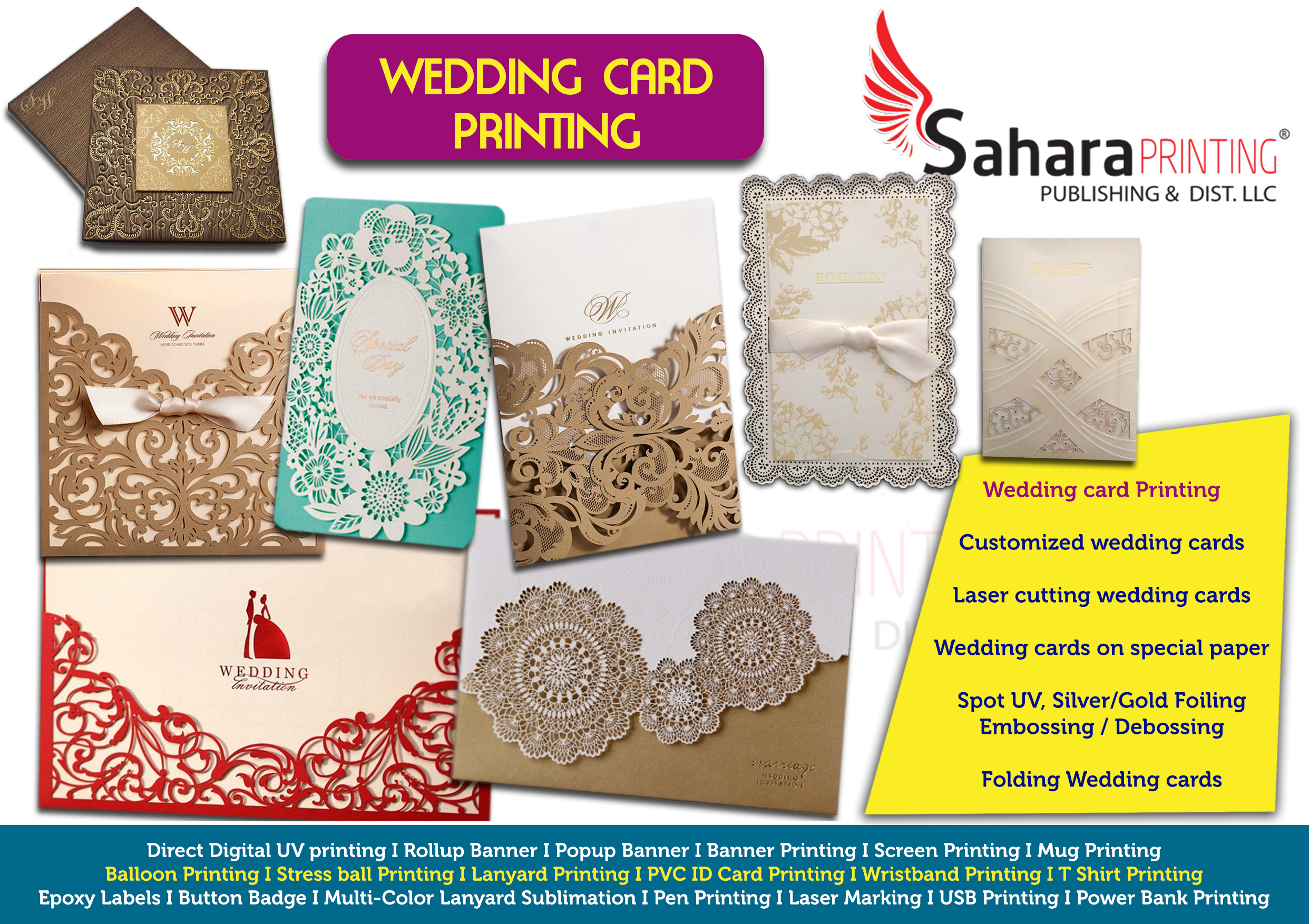 Wedding invitation card laser cutting in abudhabi sahara printing wedding card reheart Images